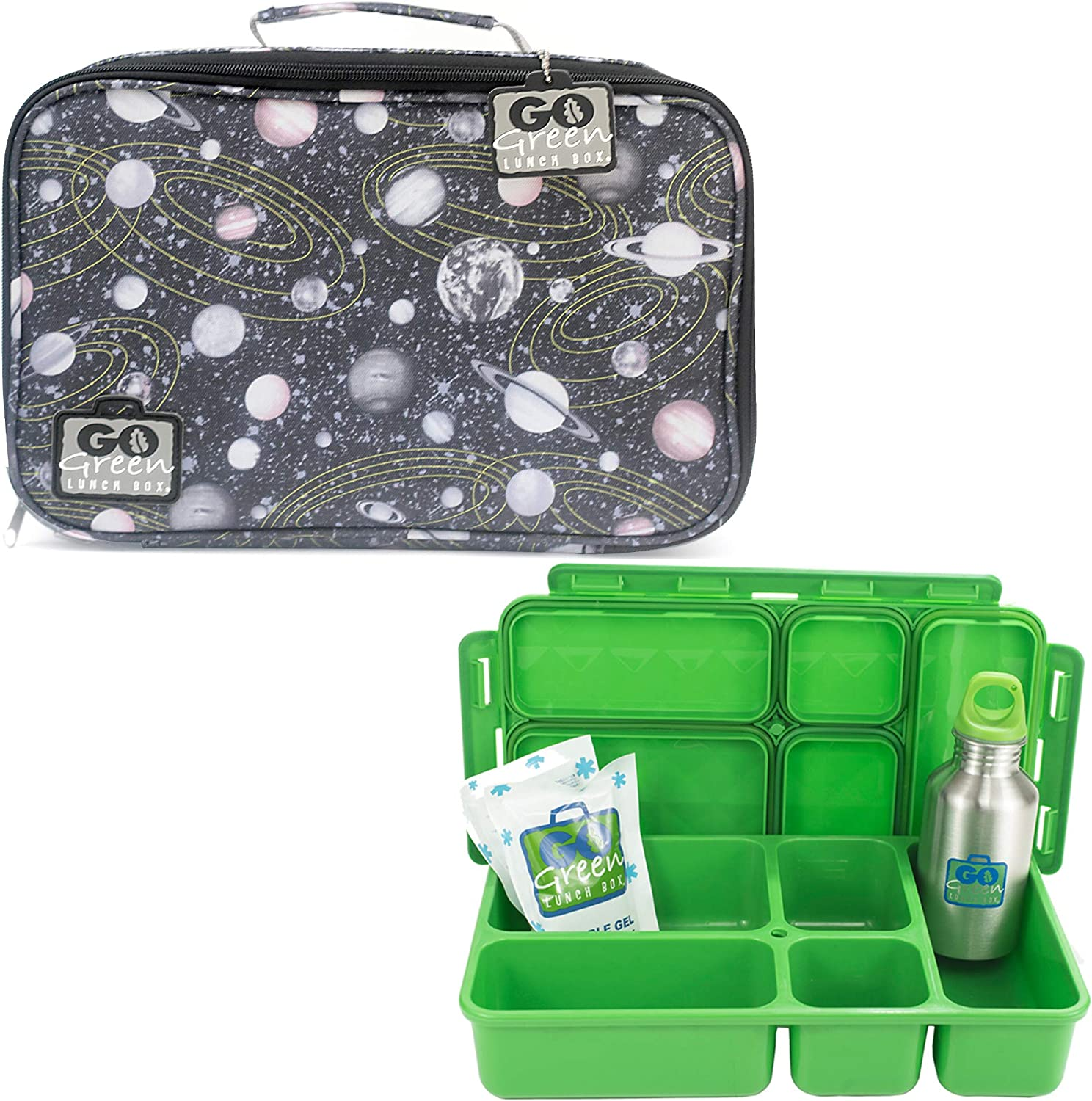 Go Green Lunch Box Set • 5 Compartment Leak-Proof Lunch Box • Insulated Carrying Bag • Beverage Bottle • Gel Freezer Pack (Spaced Out)