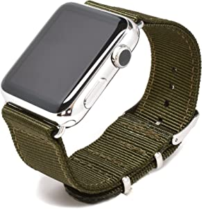 Nato Skull 42mm Apple Watch Band, Military Green Ballistic Nylon Band Strap with Stainless Steel Metal Clasp for All 42mm Apple Watch Models (Connector Included)