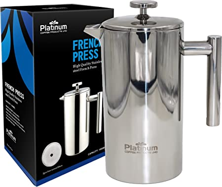 Platinum French Press Coffee Stainless Steel Double Wall 1000ml 34OZ 1 Liter Insulated Double Wall. Makes 8 Cups or Mugs, No Plastic or Glass Coffee Tea Lovers, Fresh Brewed Best tasting 1 Coffee