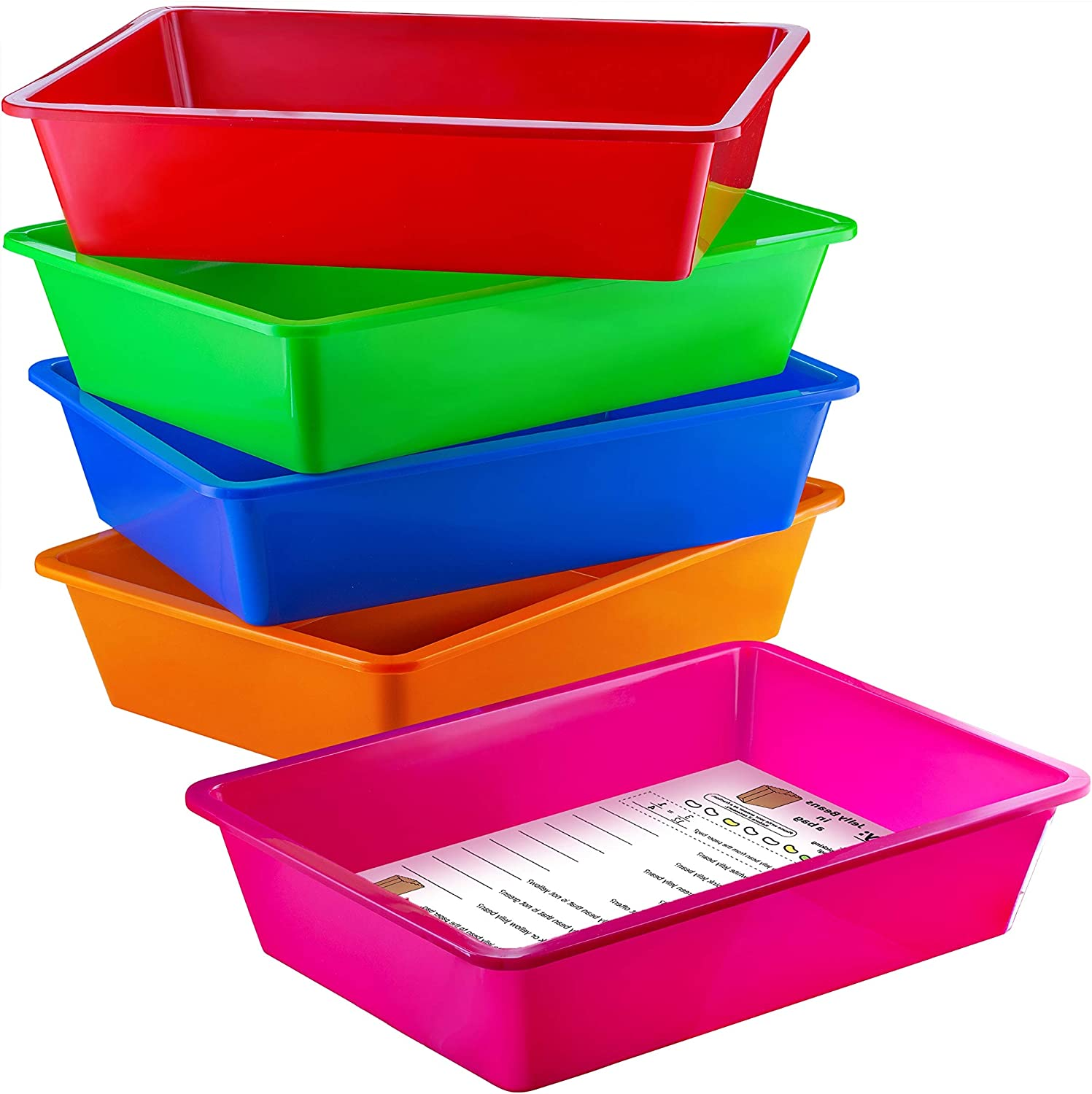 Zilpoo 5 Pack – Paper Organizer Bins, Colorful Plastic Turn in Tray, Classroom File Holder, Teacher Book School Supplies Storage Container, Drawer Organization Letter Baskets, Colored