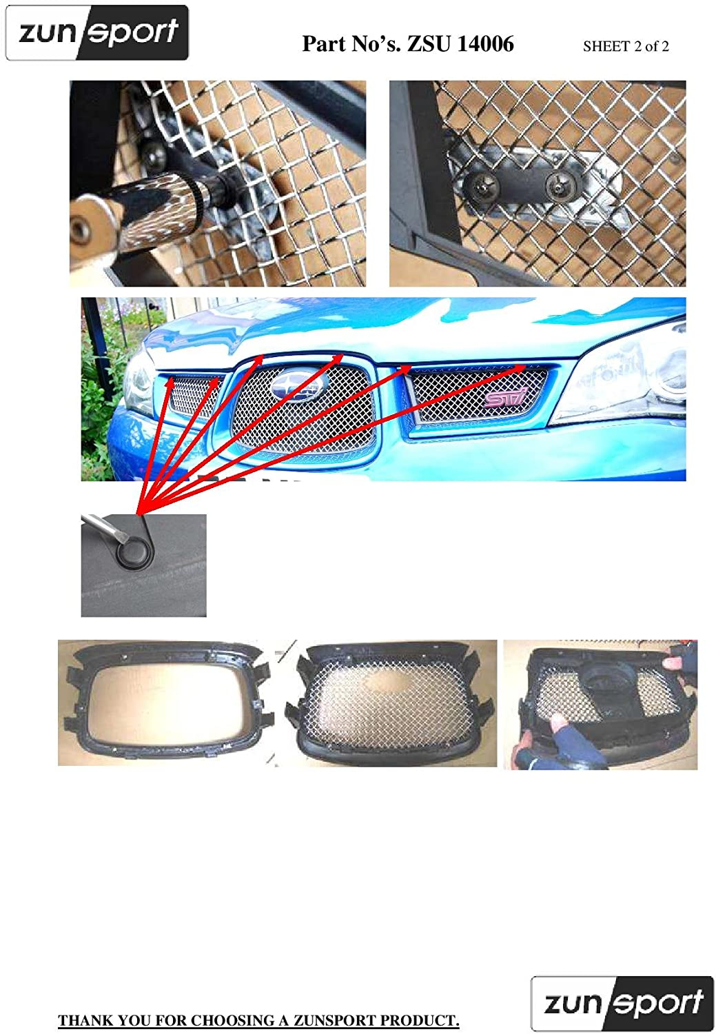 Black finish Top Grille Set 2006 to 2007 Zunsport Compatible With Subaru Impreza Hawkeye
