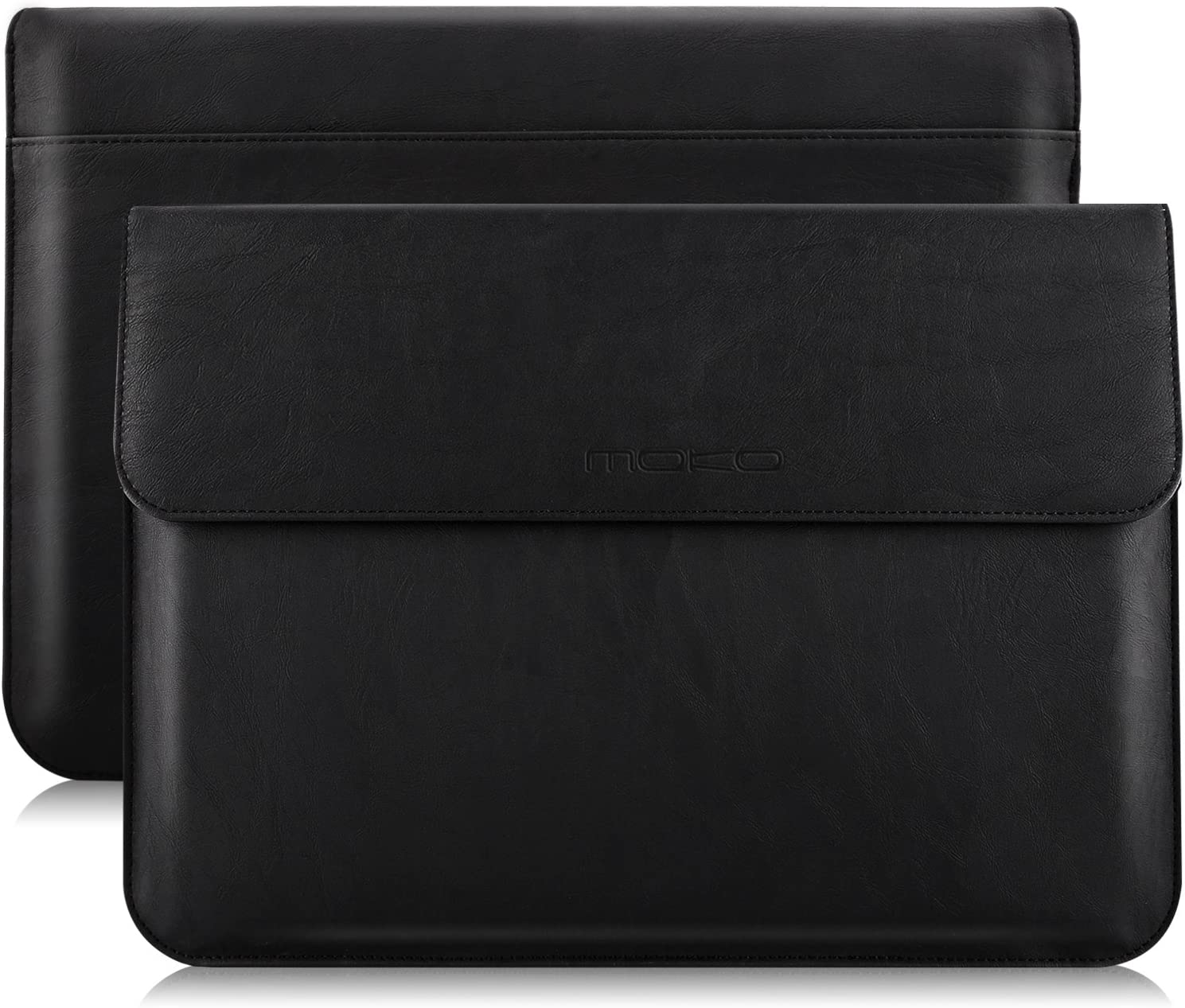 """MoKo 13 Inch Laptop Sleeve Case Compatible with MacBook Air 13-inch Retina A1932 (2016-2020), MacBook Pro 13.3"""" 2016-2019 A2159 A1989 A1706 A1708, PU Leather Envelope Case with Document Pocket, Black"""