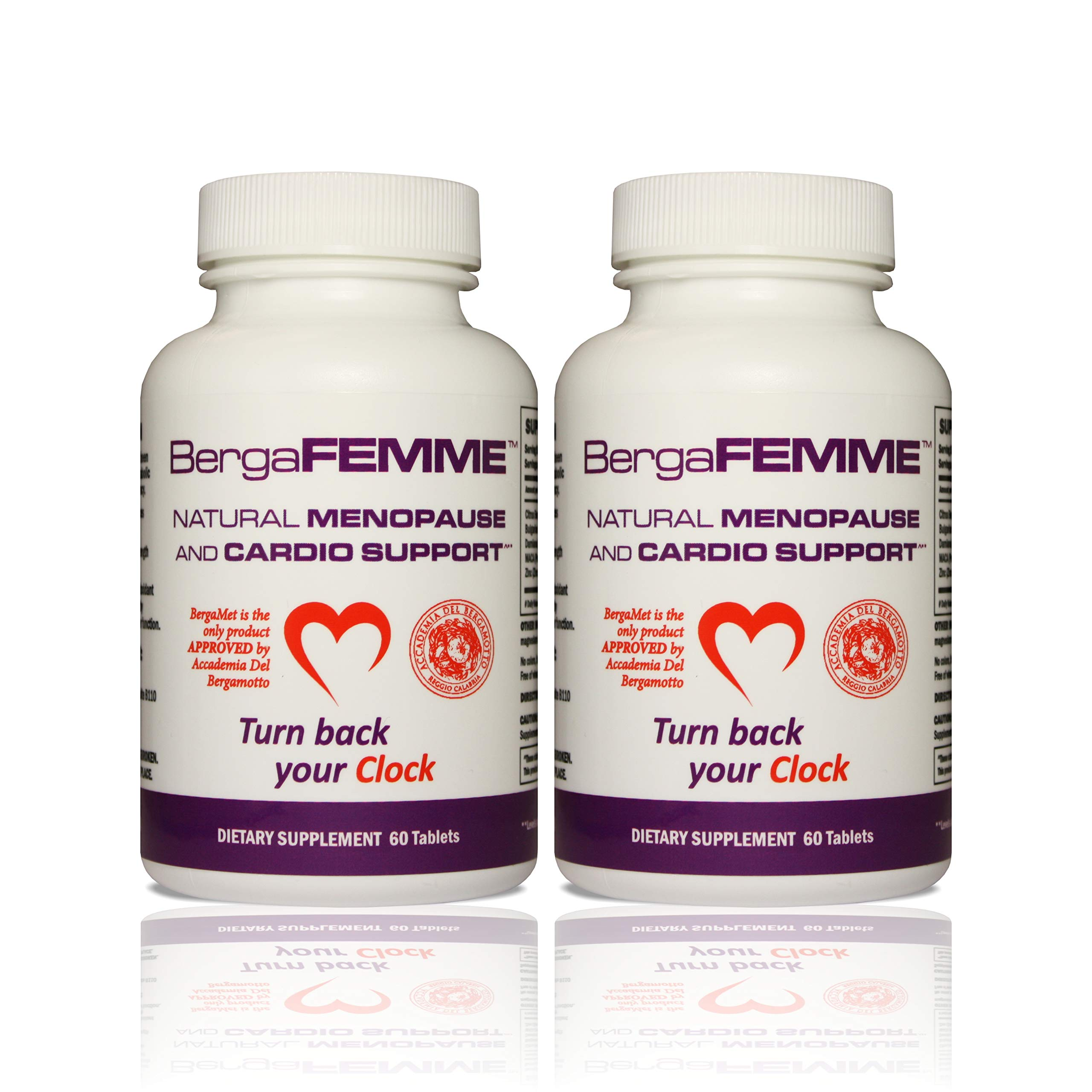 BergaFEMME Women's Menopause Relief 120 Tablets. Mood & Hot Flashes, Increase Metabolism, Weight Loss, Night Sweats, Cholesterol & Blood Pressure, Clinical Trials, Non-GMO & Gluten Free