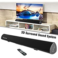 """Wohome S9920 Soundbar, TV Sound Bar Wireless Bluetooth and Wired Home Theater Speaker System (40"""", 6 Drivers, 80W, 3D Surround Sound,105dB Audio Output, Remote Control, Wall Mountable, Black)"""