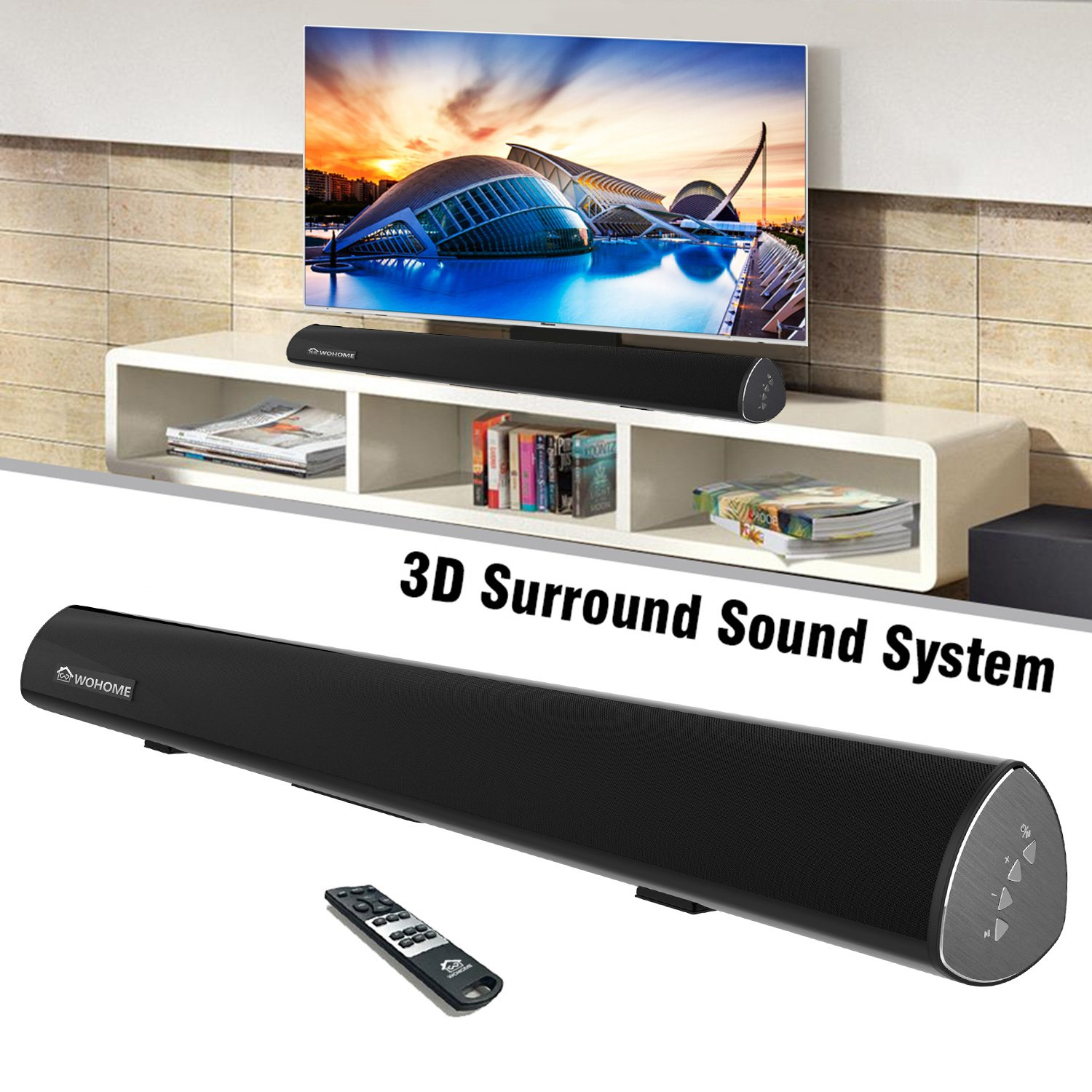 Sound Bar, TV SoundBar 80W 38-Inch Wireless Wired Connection Home Theater Audio Speaker ( 6 Speakers, 2 Bass Reflex Tubes, Remote Control, Wall Mountable, Suit for 40 or Above TV) by Wohome