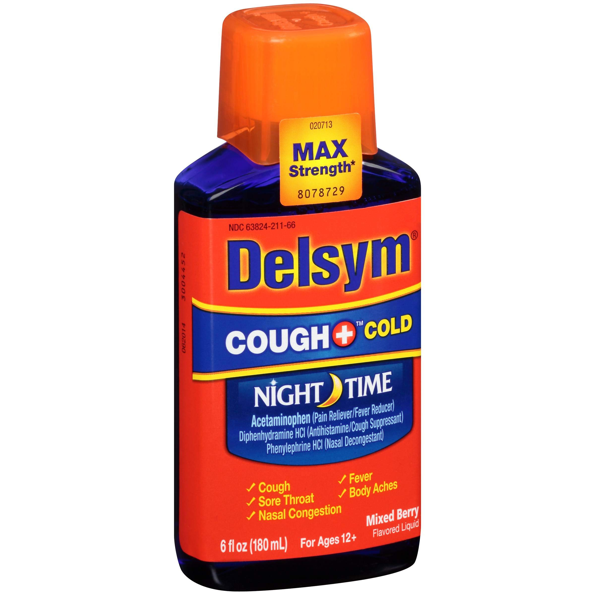 Delsym Childrens Mixed Berry Night Time Cough Plus Cold Relief Liquid, 6 Fluid Ounce - 6 per case. by Delsym
