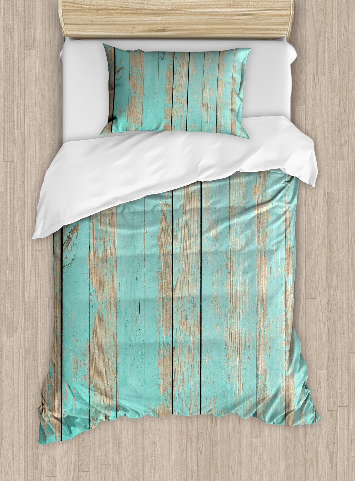 Lunarable Aqua Duvet Cover Set Twin Size, Worn Out Wooden Planks Faded Paint Marks Vintage Grunge Hardwood Image Rustic Design, Decorative 2 Piece Bedding Set with 1 Pillow Sham, Aqua Tan