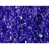 """Fire Pit Glass Rocks, COBALT BLUE~3/8-1/2"""", 4 LBS"""