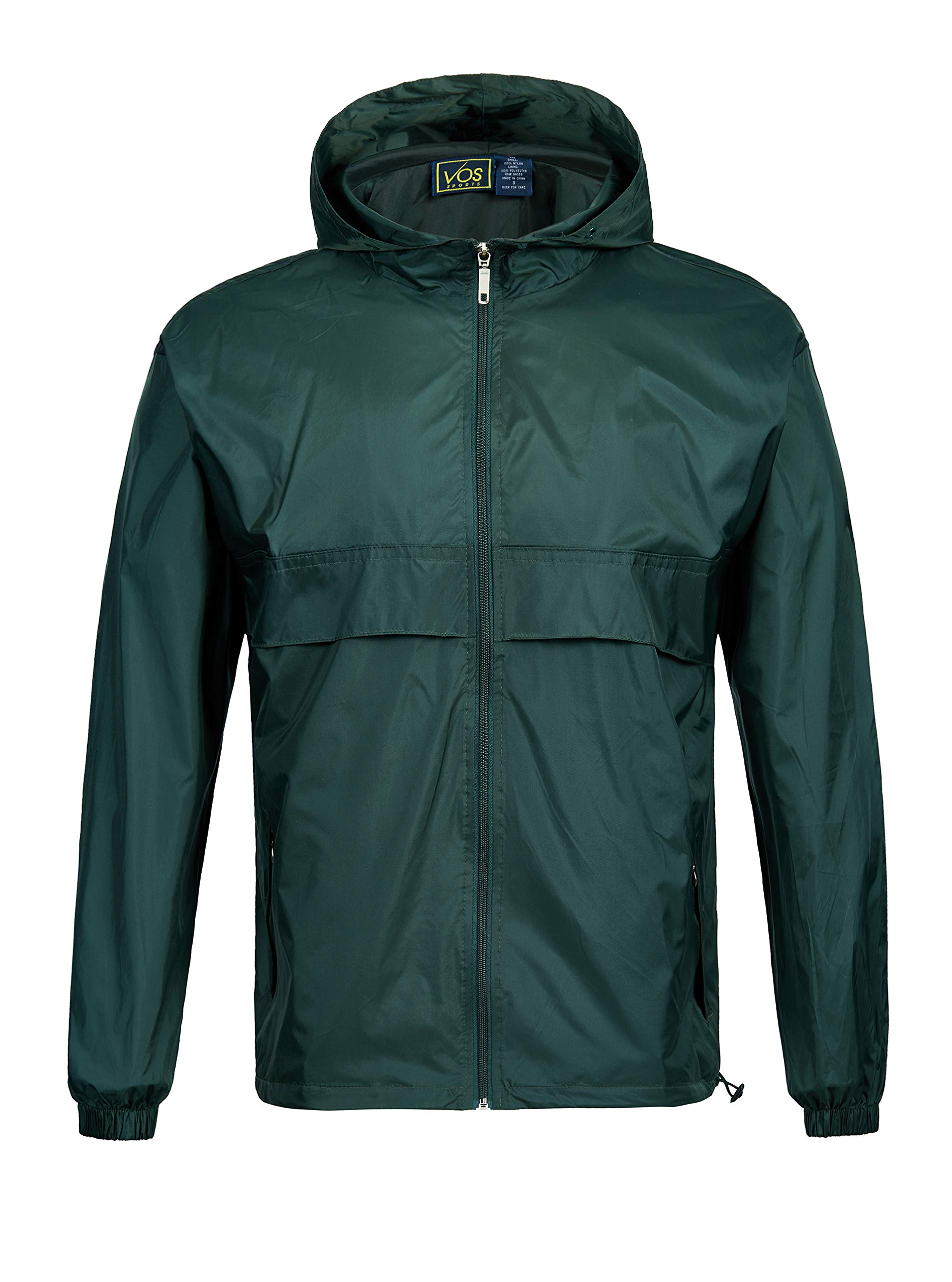 GEEK LIGHTING Rain Jacket for Men, Outdoor Zipper Waterproof Lightweight Raincoat Windbreaker with Hooded (Dark Green, Large) by GEEK LIGHTING