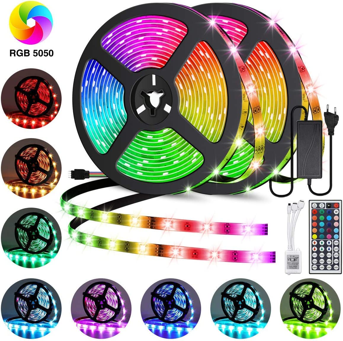 Led Strip Lights 32.8ft, GOADROM IP65 Waterproof Flexible Led Lights Color Changing 5050 RGB 300 LEDs Light Strips Kit with 44 Keys IR Remote Controller and 12V Power Supply for Home, Bedroom, Kitchen