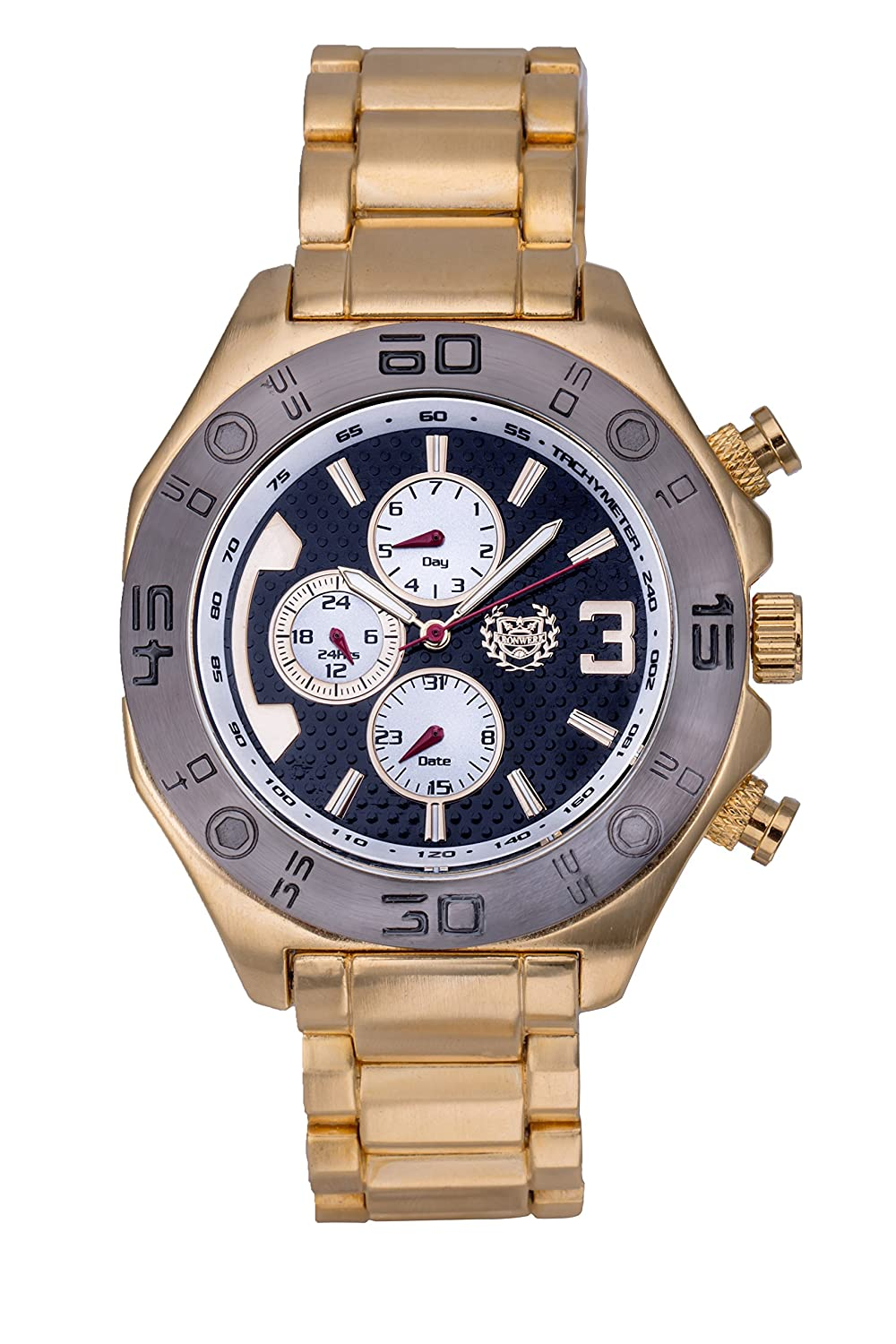 Amazon.com: ShoppeWatch Mens Gold Watch Black Dial Metal Band Multifunction Day Date Reloj Hombres Big Face AQ202823G: Watches