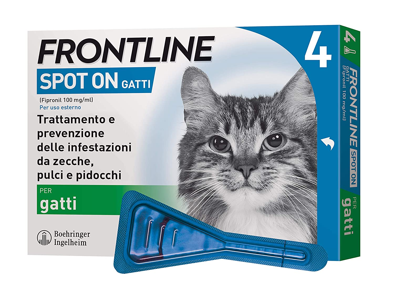 Frontline   Spot On Gatti   Protezione da zecche, pulci e pidocchi   4 Pipette da 0.5 ml