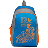 Lutyens Polyester Mini School Bag/Casual Backpack (Blue and Orange)