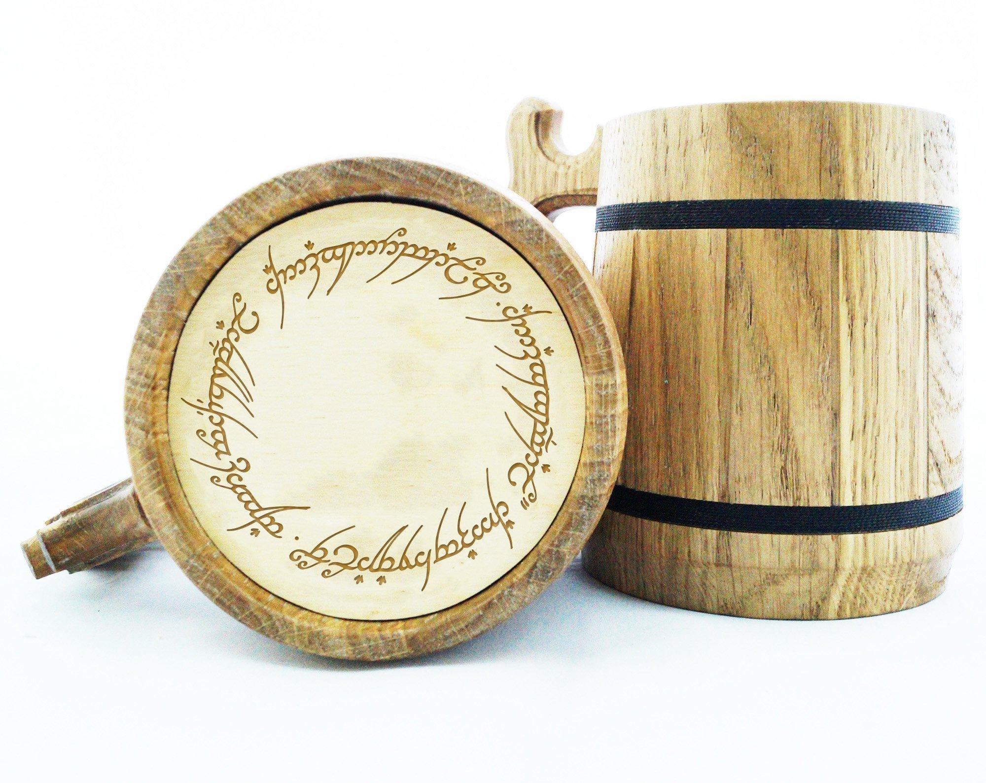 Lord Of The Rings Gifts / LOTR Mug / Lord Of The Rings Gift / Wood Beer Mug / Engraved Mug / Personal Gifts for Men / Beer Tankard K47