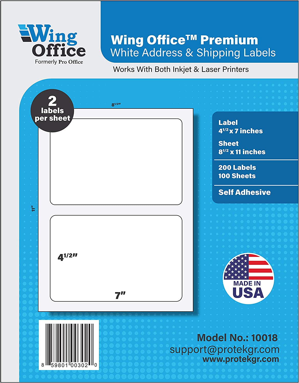 Pro Office Premium 200 Rounded Corner Half Sheet Self Adhesive Shipping Labels for Laser Printers and Ink Jet Printers, White, Made in USA, 4.5 x 7.0 Inches, Pack of 200