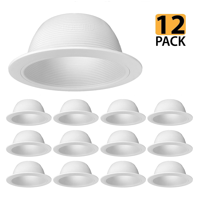 """[12-Pack] PROCURU 6"""" White Baffle Metal Recessed Can Light Trim - for BR30/38/40, PAR30/38/40 LED, Incandescent, CFL, Halogen (White (12-Pack))"""