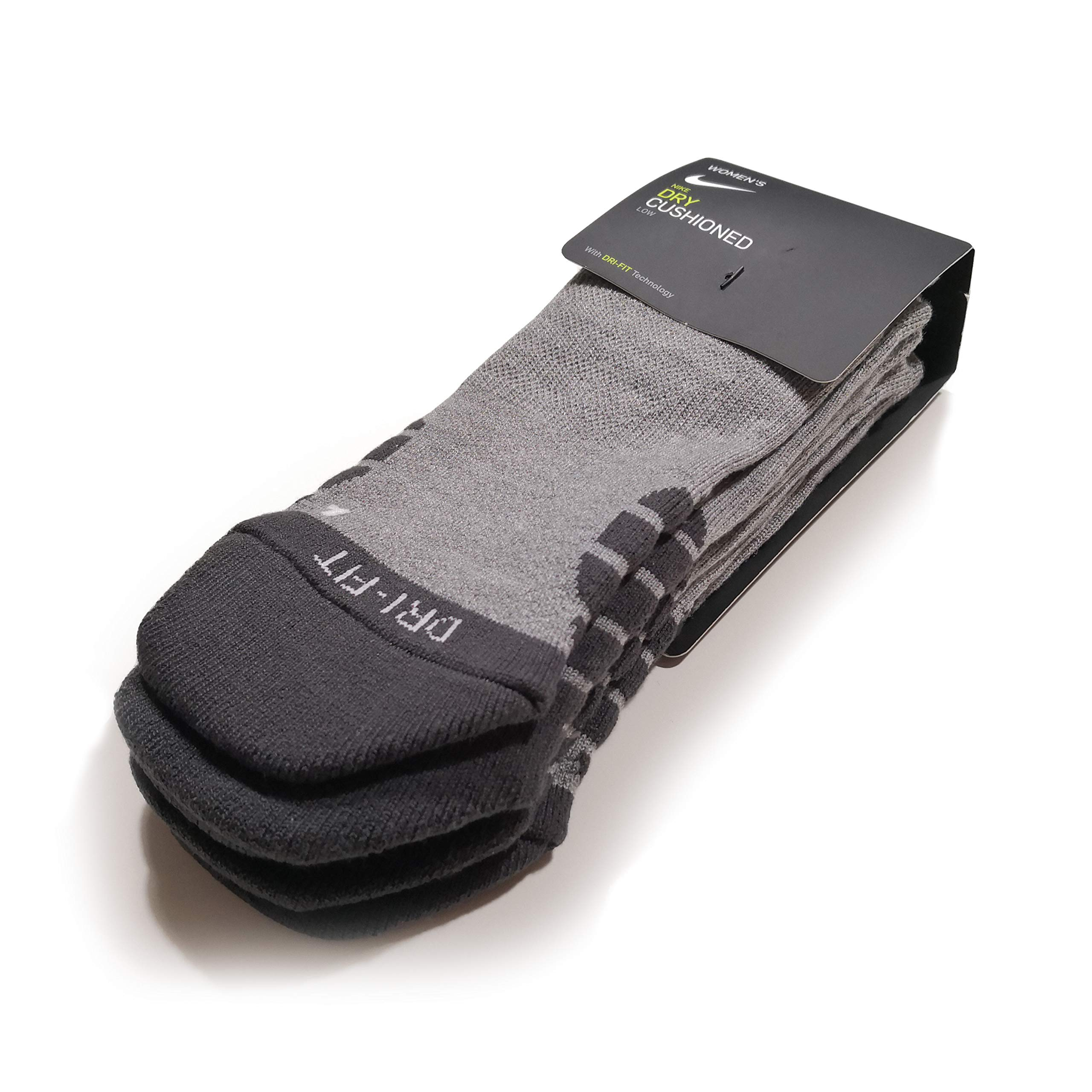 Nike Women`s Dry Cushion Low Training Socks (3 Pair) (Medium, Anthracite (XS6070-091) / Wolf Grey/White)
