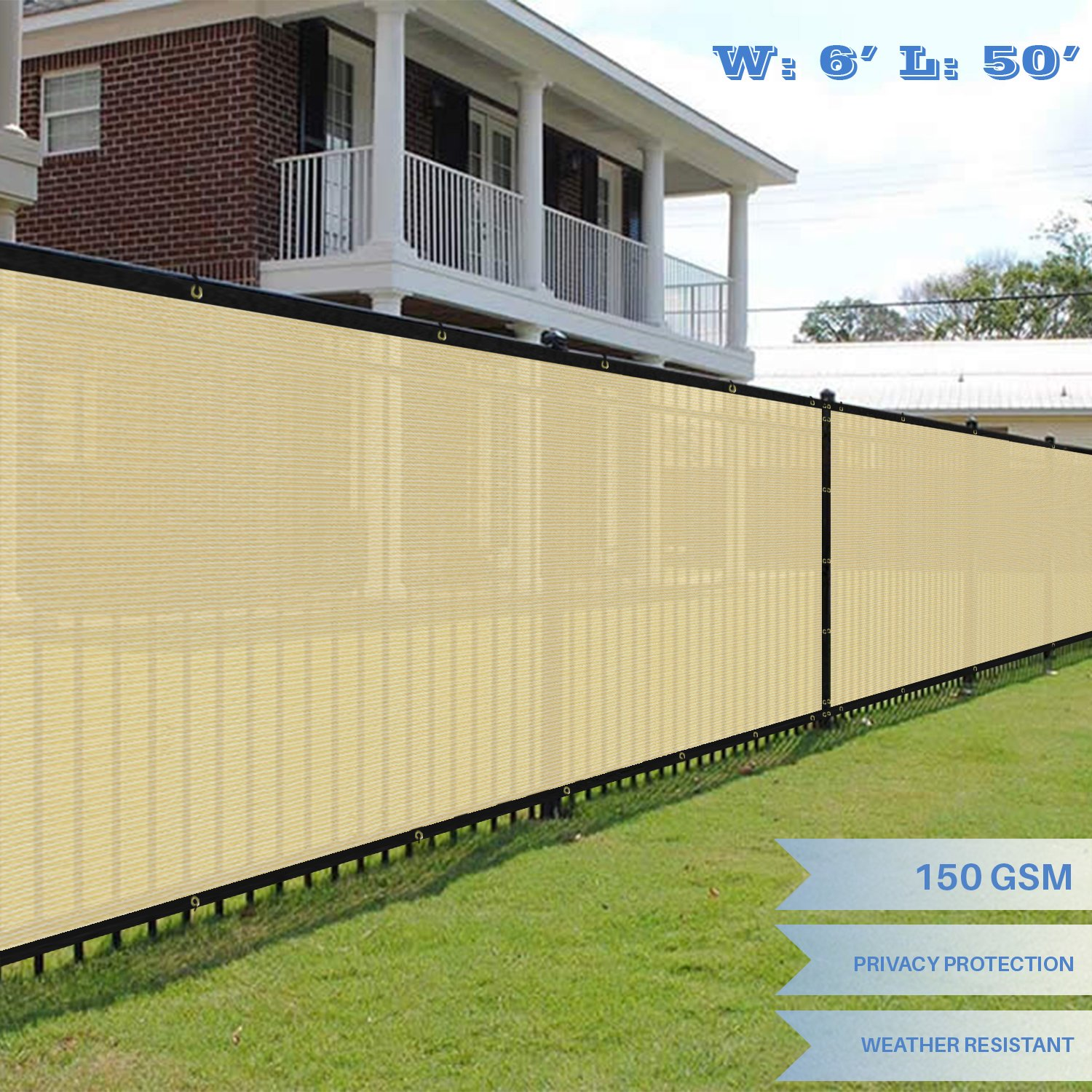 E&K Sunrise 6' x 50'  Commercial Outdoor Backyard Shade Mesh Fabric 3 Years Warranty (Customized Sizes Available) - Set of 1
