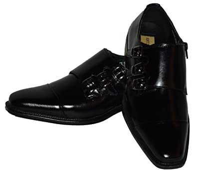 6679 Mens Classy Black Triple Monk Strap Dress Loafers Shoes