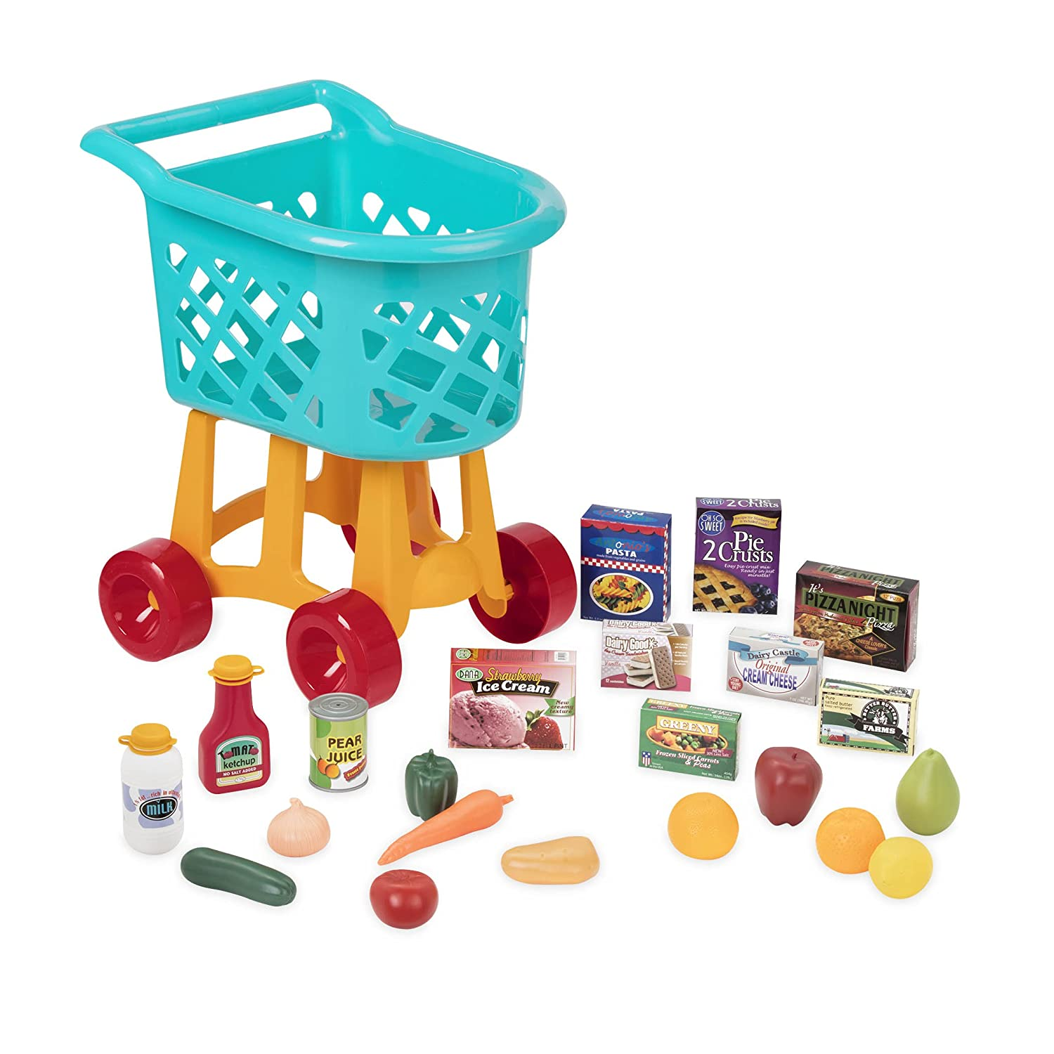 Battat Grocery Cart – Deluxe Toy Shopping Cart with Pretend Play Food Accessories for Kids 3+ (23-Pieces)