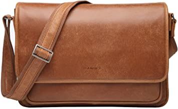 8ba6c630aa Image Unavailable. Image not available for. Color  Banuce Vintage Soft Full  Grain Italian Leather Messenger Bag for Men Business Briefcase ...
