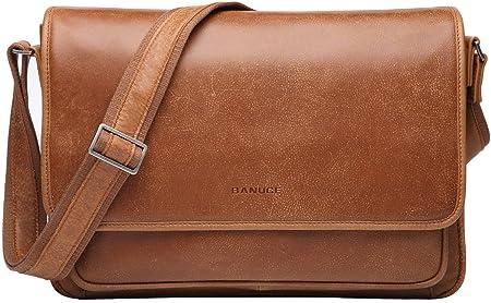 Banuce Vintage Soft Full Grain Italian Leather Messenger Bag for Men Business Briefcase a4 Work 14 Inch Laptop Shoulder Bag