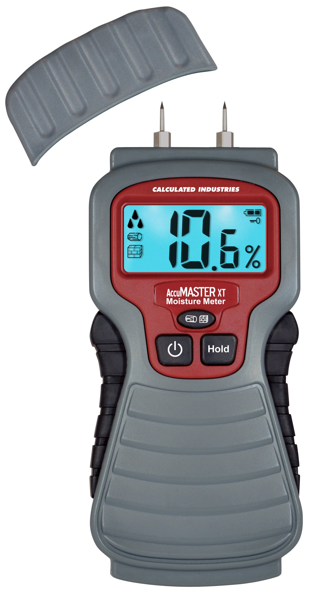 Calculated Industries 7440 AccuMASTER XT Digital Moisture Meter | Handheld |Pin Type | Backlit LCD Display | Detects Leaks, Damp and Moisture in Wood, Walls, Ceilings, Carpet and Firewood by Calculated Industries