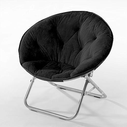 Urban Shop Faux Fur Saucer Chair Metal Frame