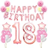 KUNGYO Rosa Oro Buon Compleanno Decorazioni Kit per 18 Anni-Rose Gold Happy Birthday Bandiera- Numero Gigante 18 e Stelle Palloncini Foil, Nastri, Carta Pom Fiori