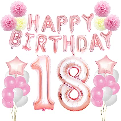 KUNGYO 18th Birthday Decorations Kit Rose Gold Happy Banner Giant Number 18 And