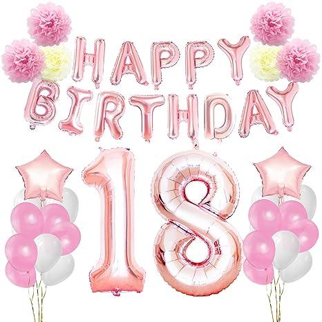 Kungyo Rosa Oro Buon Compleanno Decorazioni Kit Per 18 Anni Rose