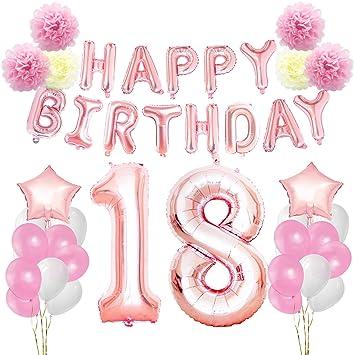 KUNGYO Decoraciones de Feliz Cumpleaños 18 Oro Rosa Happy Birthday Bandera - Gigante Número 18 Helio Globos, Cintas, Flores de Papel Pom, Globos de ...