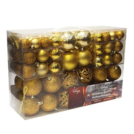 Christbaumkugeln Amazon.Wohaga 100 Stuck Weihnachtskugeln Christbaumkugeln Baumschmuck Weihnachtsbaumschmuck Baumkugeln Farbe Gold