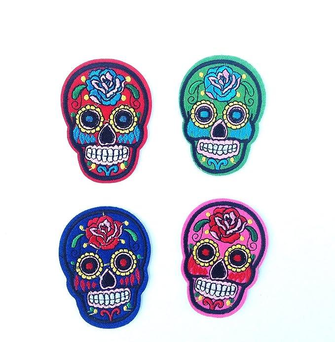 4 parches calavera esqueleto,4 colores, termoadhesiovs bordados ,HC ...