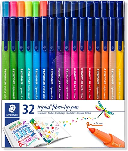 Staedtler Triplus Colour - Estuche con rotuladores de punta de fibra, color Assorted Pack of 32: Amazon.es: Oficina y papelería