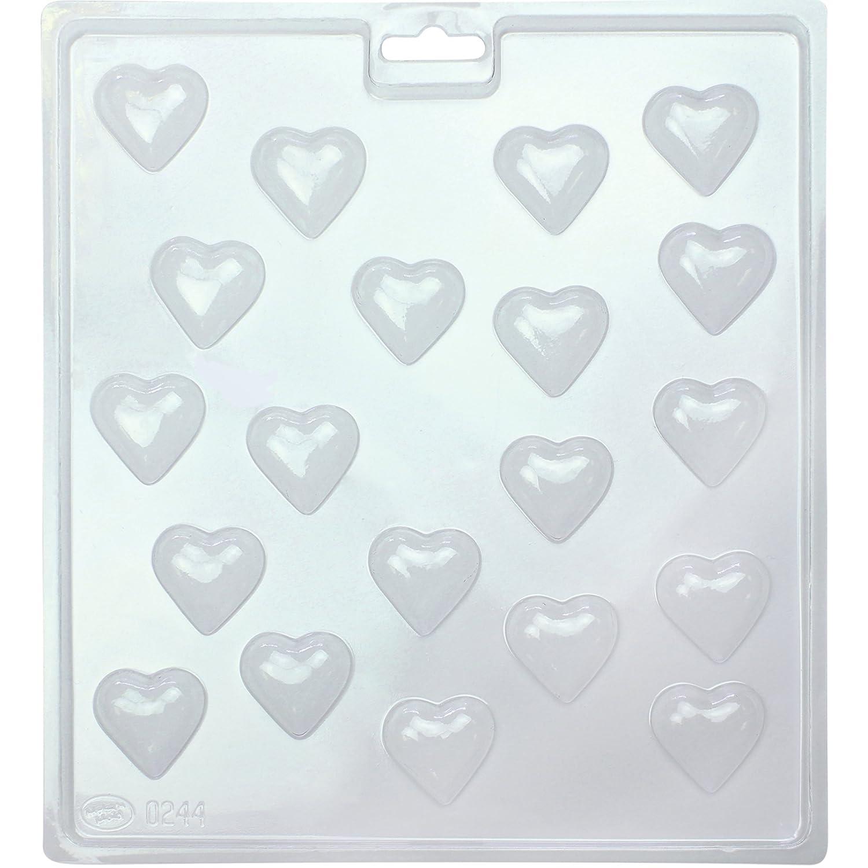 PME CM404 Moule à Friandises au Chocolat Mini Cœurs, Plastique, Transparent, 21,5 x 3 x 24 cm