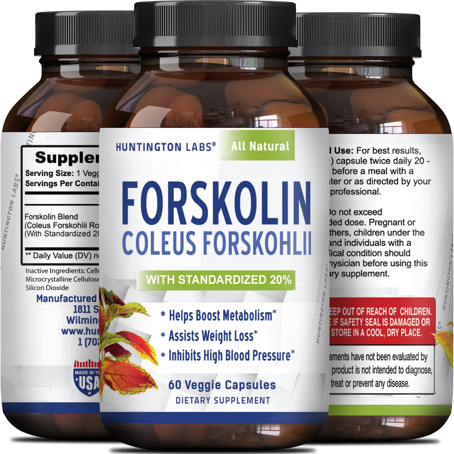 Coleus Forskholii - Pure Forskolin Root Extract Pills - Natural Diet Pills - Herbal Weight Loss Fat Burner - Metabolism Booster for Men and Women - 60 veggie capsules - By Huntington Labs