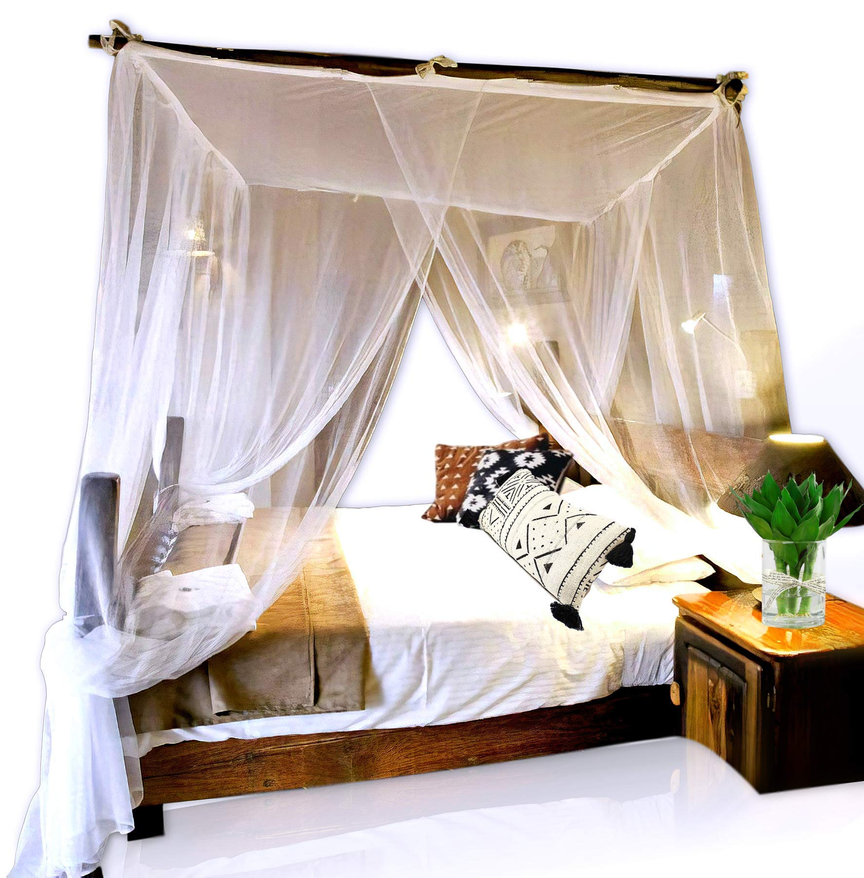 Basik Nature Jumbo Mosquito Net Canopy for Queen King Size Bed. Thin Mesh Netting Lets Breeze in and Bugs Out