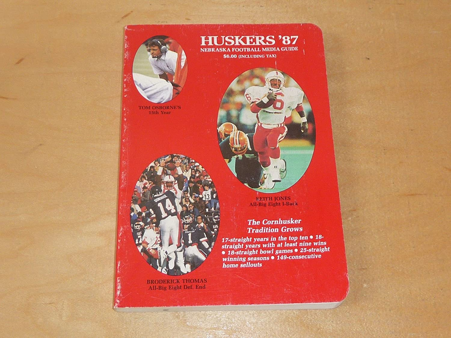 1987 NEBRASKA COLLEGE FOOTBALL MEDIA GUIDE EX-MINT BOX 19