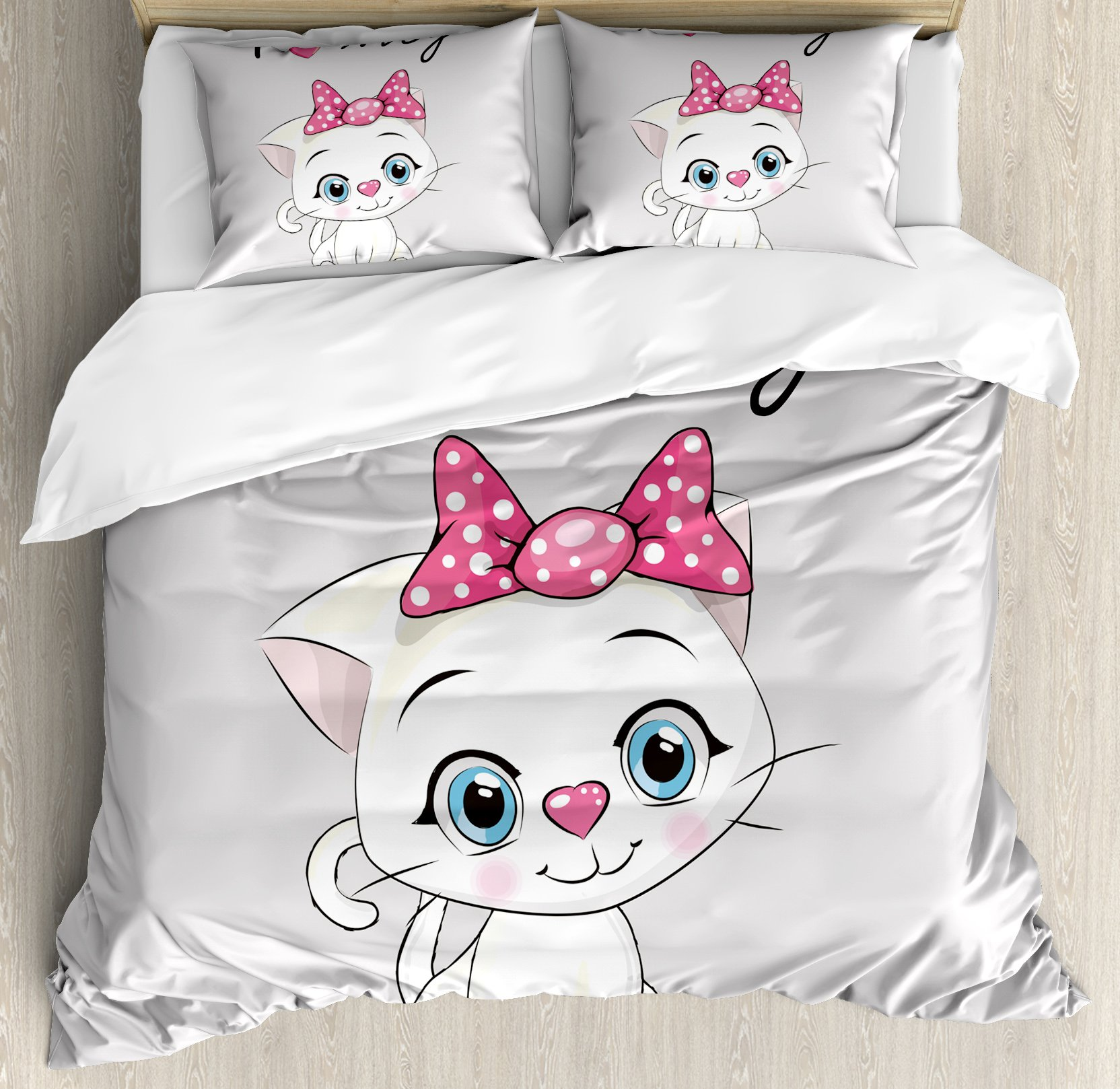 Kitten Queen Size Duvet Cover Set by Ambesonne, Cute Cartoon Domestic White Cat Pink Cheeks Fluffy I Love My Pet Themed Print, Decorative 3 Piece Bedding Set with 2 Pillow Shams, Grey White Pink