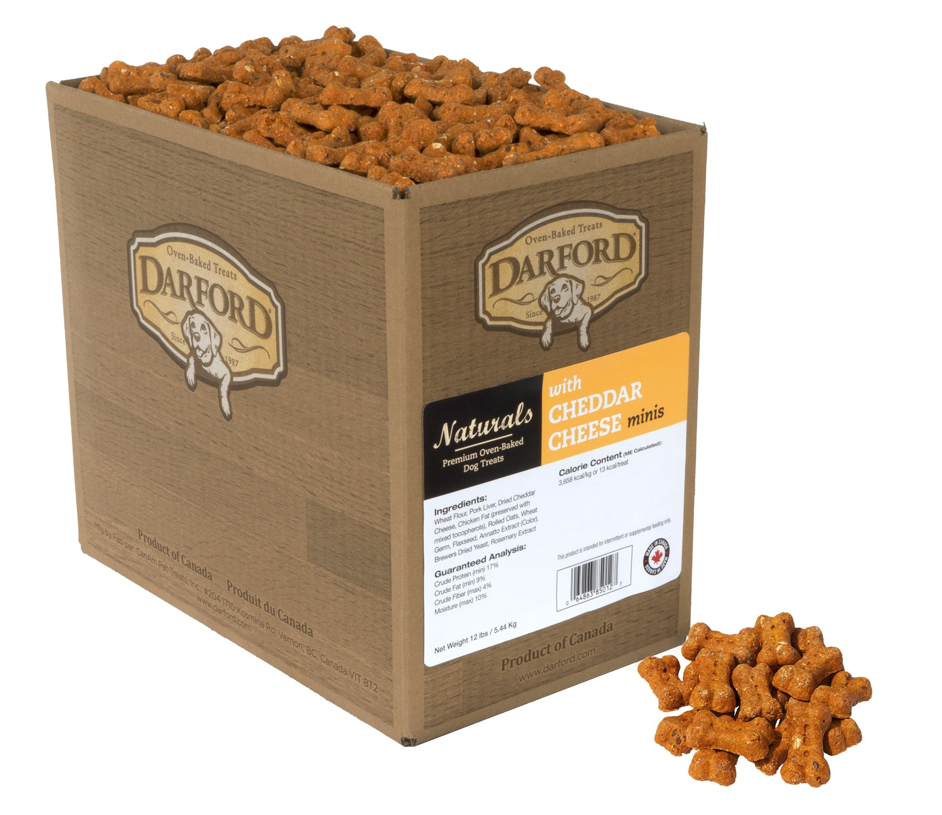 Naturals Oven Baked Dog Treats with Cheddar Cheese Minis, 12 lb by Darford