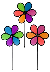 In the Breeze 10 Inch Neon Flower Spinners - 3 Pack - Colorful Wind Spinners for your Yard and Garden