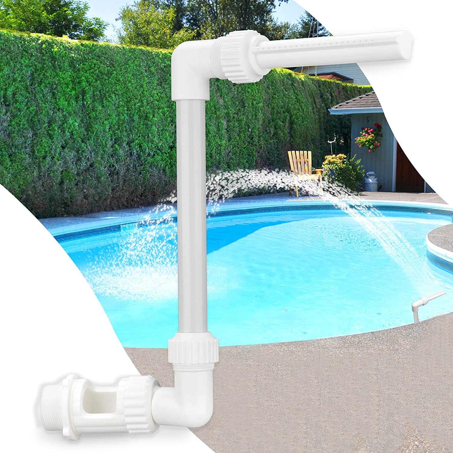 Klleyna Water-Fountain Swimming-Pool Sprinkle Accessories - Waterfall Above In-ground Pool, Cooling Spray for Outdoor Garden Pond Power Saving, High Pressure Pool Jet Fountain Attachment for Pump