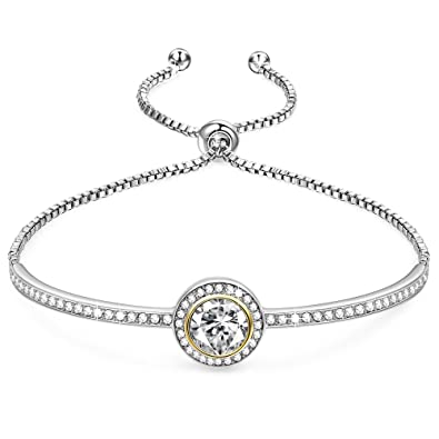 GEORGE · SMITH Silver Bracelet for Women Rose Gold Bangle with Swarovski  Crystals, Tennis Bracelet Charm Bracelets Birthday Gifts for Women
