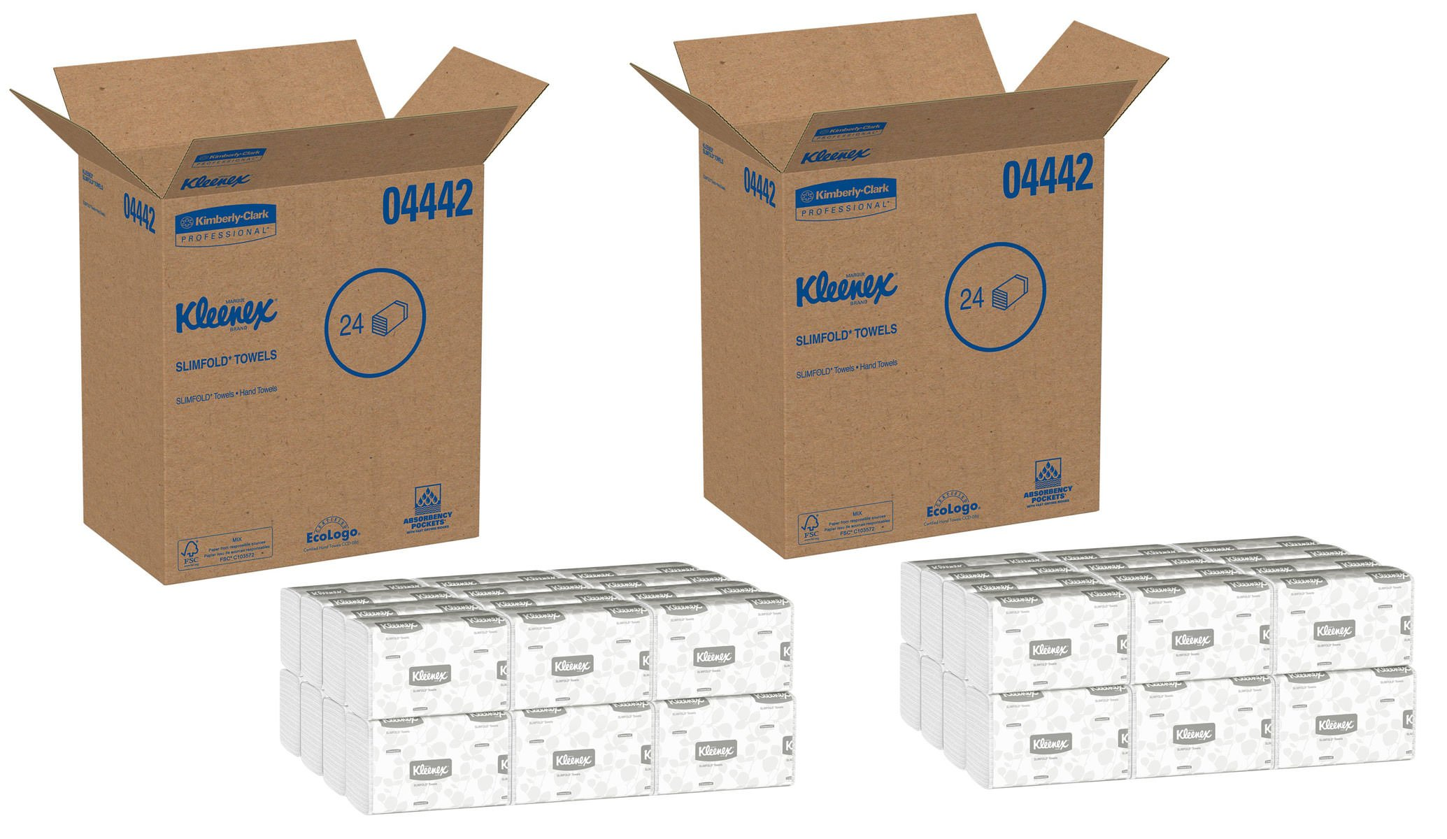 Kleenex 04442 Slimfold Paper Towels, 7 1/2 x 11 3/5, White, 90 per Pack (Case of 24 Packs), 2 Case