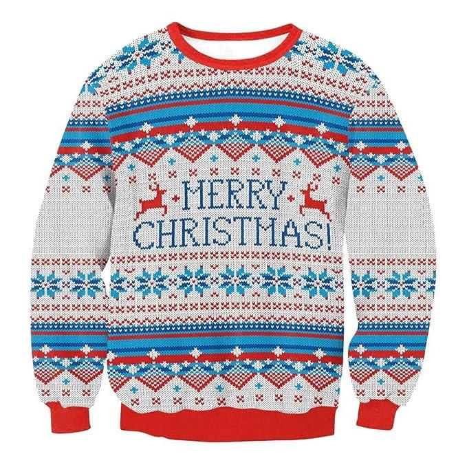 Camiseta de invierno, RETUROM Unisex Navidad Santa Claus suéter sudadera blusa: Amazon.es: Ropa y accesorios