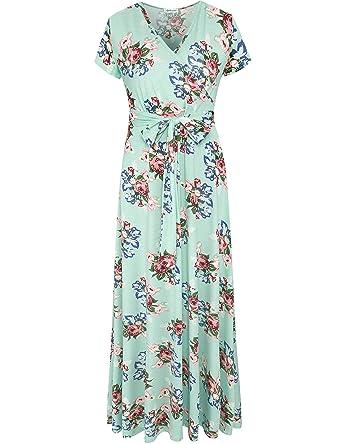 659a44b93b4 Aphratti Women s Bohemian Short Sleeve V Neck Faux Wrap Vintage Maxi Dress  Small Aqua
