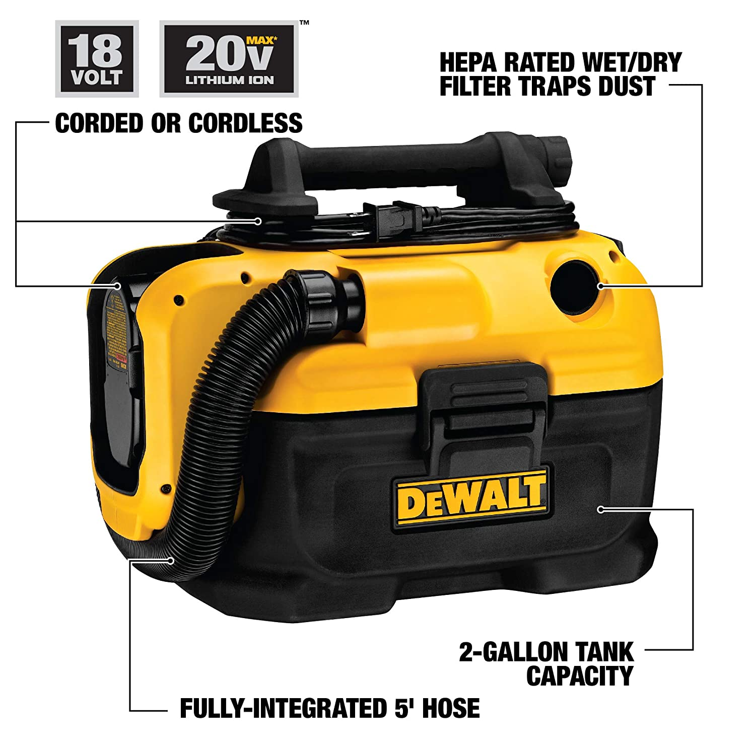 DEWALT 18 20-Volt MAX Cordless Corded Wet-Dry Vacuum with Charger Kit and Bag