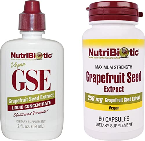 NutriBiotic Grapefruit Seed Extract Liquid Concentrate and Grapefruit Seed Extract Maximum Strength Capsules Bundle with Vegan and Gluten Free GSE, 2 oz. and 60 ct.