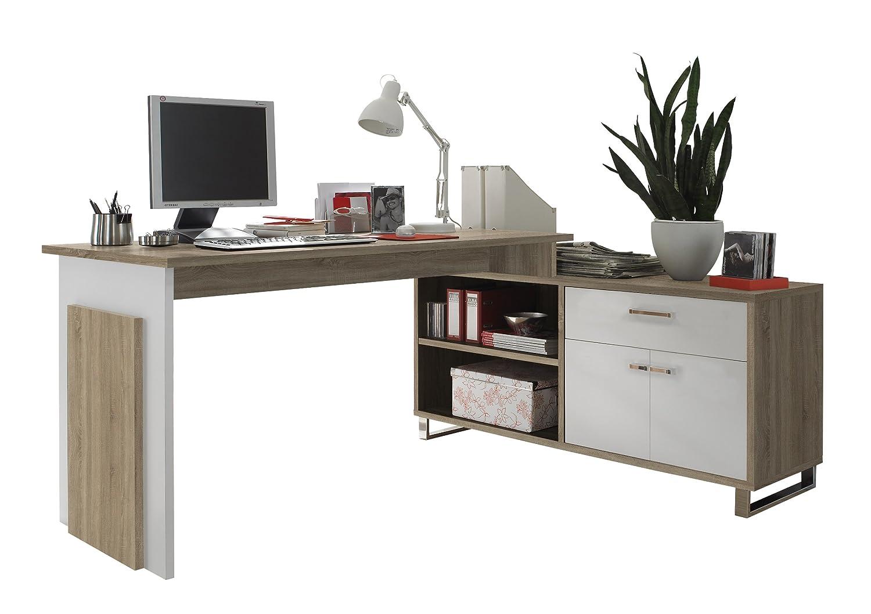 BEGA 39-730-68 Manager Eck-Schreibtisch, Eiche Eiche Eiche Sonoma Dekor, Tisch 140 x 76 x 65 cm, Sideboard 130 x 62 x 40 cm da93dd